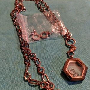 Necklace, locket, charms and earrings